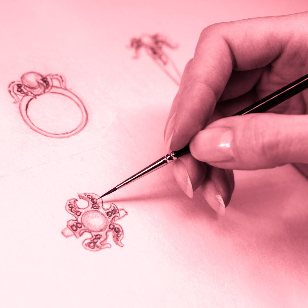 Aulas práticas de desenho de joias no Curso Design de Joias - 4ED escola de design
